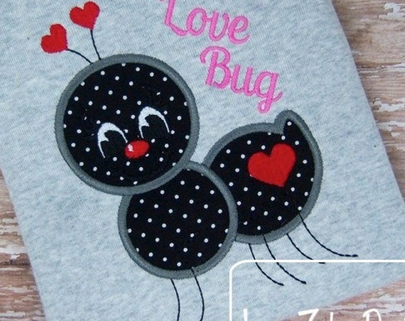 Valentine Ant Applique Embroidery Design - Valentines day appliqué design - valentine appliqué design