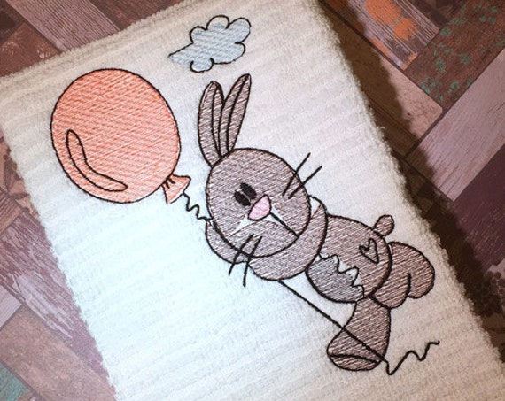 Bunny with balloon 150 sketch embroidery design - rabbit sketch embroidery design - bunny sketch embroidery - Birthday sketch embroidery