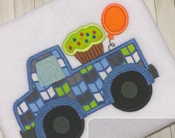 Birthday Truck with cupcake and balloon Appliqué Embroidery Design - birthday appliqué design - boy appliqué design - truck appliqué design