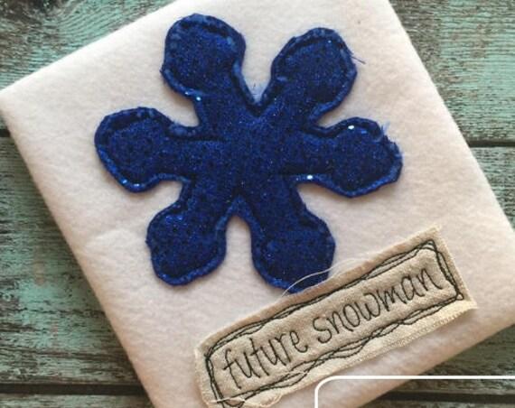 Future Snowman snowflake shabby chic appliqué embroidery design - snowflake appliqué design - Winter appliqué design - shabby chic appliqué