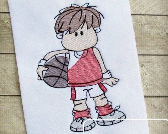 Boy Basketball player Sketch Embroidery Design - basketball Sketch Embroidery Design - boy sketch embroidery design