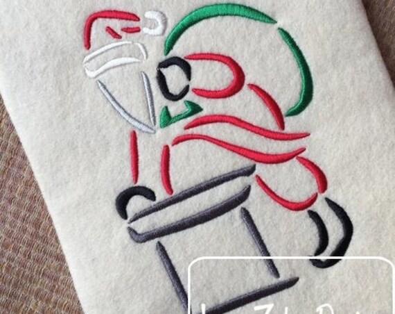 Santa Satin Stitch Outline Embroidery Design - santa Embroidery Design - santa clause Embroidery Design - Christmas Embroidery Design