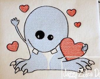 Monster holding heart Valentine sketch machine embroidery design