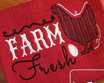 Farm Fresh Chicken and egg Saying Embroidery Design - chicken embroidery design - farm embroidery design - country embroidery design