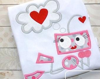 Girl Robot in Love appliqué machine embroidery design