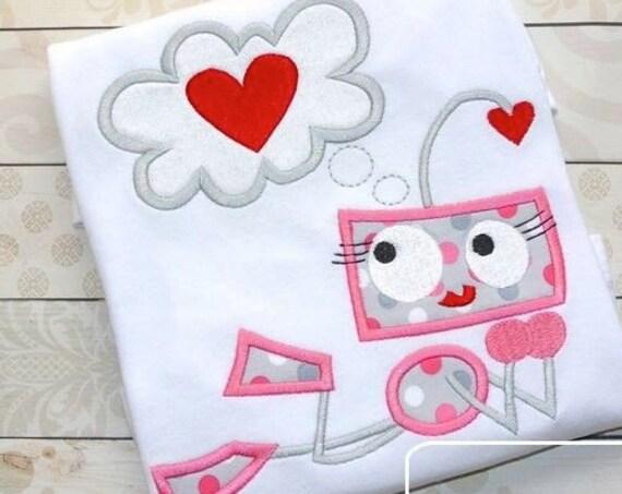 Robot Girl Love Appliqué embroidery Design - Valentines day appliqué design - Valentine appliqué design - robot appliqué design