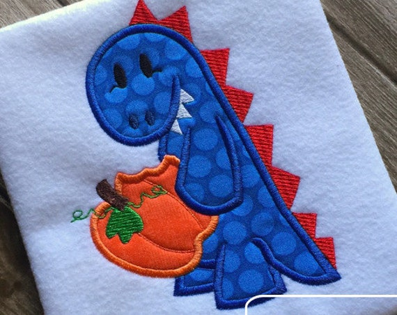 Dinosaur eating Pumpkin Appliqué Embroidery Design - Dinosaur appliqué design - pumpkin appliqué design - fall appliqué design