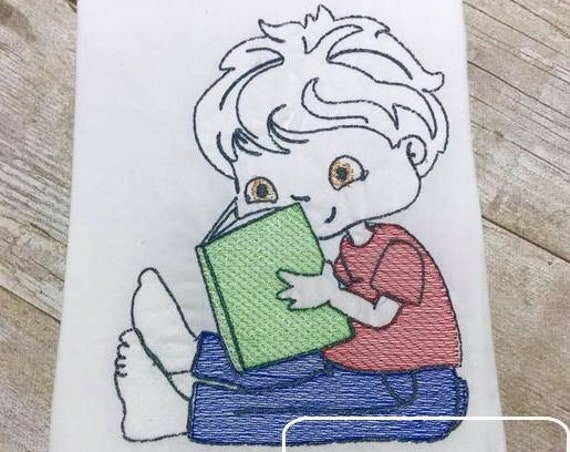 Boy reading sketch embroidery design - boy embroidery design - reading embroidery design - book embroidery design - school embroidery design