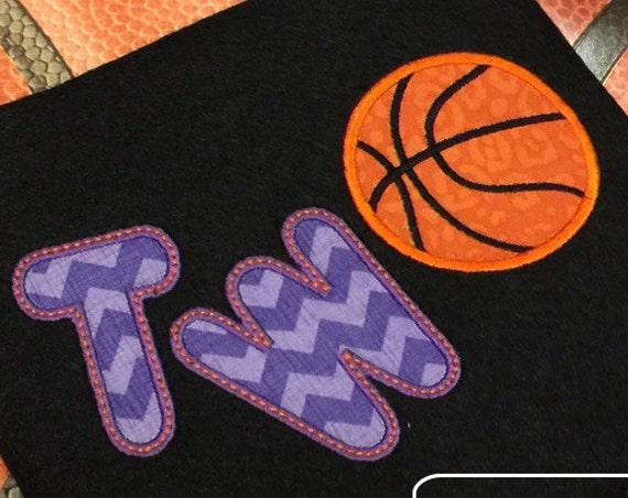 Two basketball Appliqué embroidery Design - 2nd birthday appliqué design - two year old