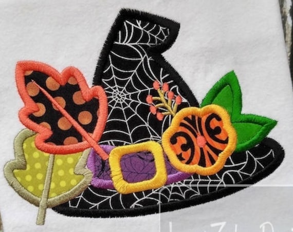 Witches Hat with leaves and flower appliqué embroidery design - witch appliqué design - witches hat appliqué design - Halloween appliqué
