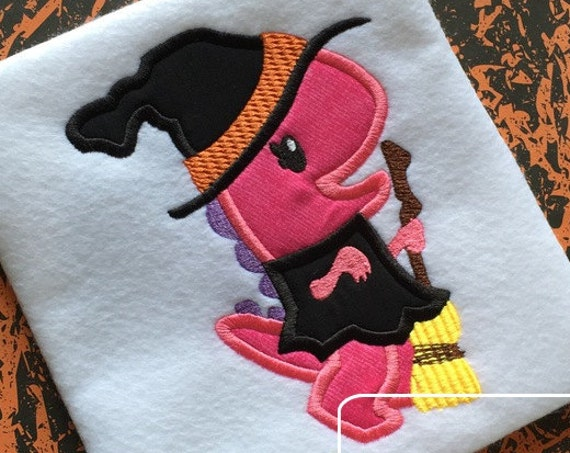 Dinosaur Witch Appliqué Embroidery Design - Dinosaur applique design - witch applique design - girl appliqué design - Halloween appliqué