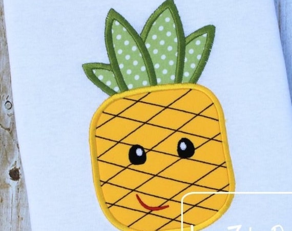 Pineapple Appliqué Embroidery Design - girl appliqué design - boy appliqué design - pineapple appliqué design - summer appliqué design