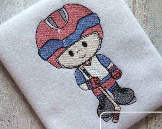 Hockey Player Sketch Embroidery Design - hockey Sketch Embroidery Design