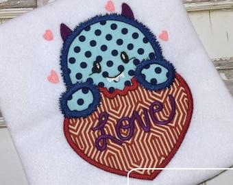 Fuzzy Monster Love Valentine Applique Embroidery Design - Valentines day appliqué design - Valentine appliqué design - Monster appliqué