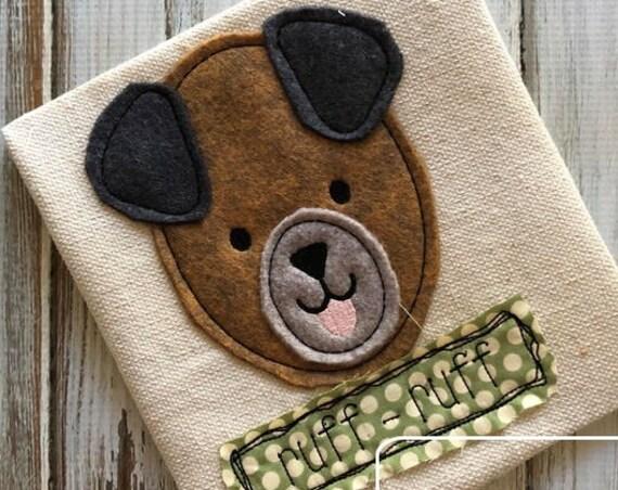 Dog ruff ruff shabby chic applique embroidery design - dog applique design - farm appliqué design - Old McDonald had a farm - puppy appliqué