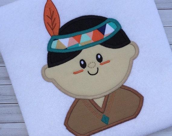 Indian Boy 125 Appliqué Embroidery Design - indian applique design - thanksgiving appliqué design - brave appliqué design - boy applique