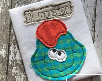 Lil Monster saying monster shabby chic bean stitch appliqué machine embroidery design