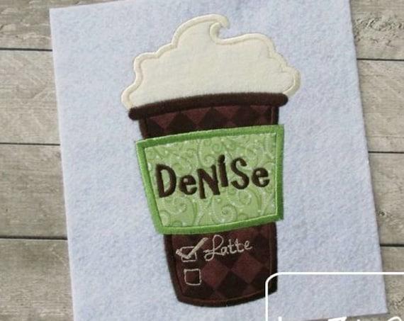 Latte Applique embroidery Design - latte appliqué design - coffee appliqué design