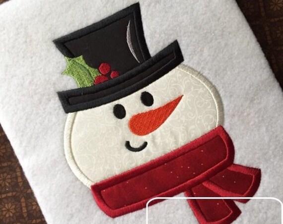 Snowman 130 Appliqué embroidery design - Snowman appliqué design - snow boy appliqué design - winter appliqué design - snow man appliqué