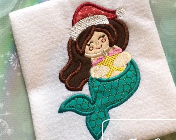Chubby Mermaid Christmas Appliqué embroidery Design - Christmas Appliqué Design - Mermaid Applique Design - beach Applique Design