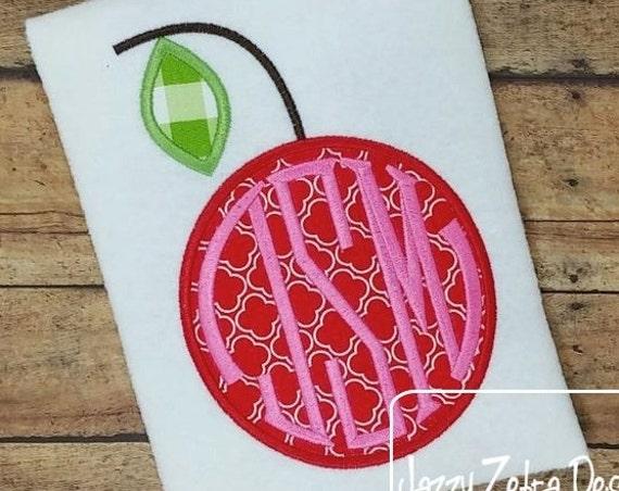 Cherry Monogram Frame Applique embroidery Design - cherry appliqué design - fruit applique design