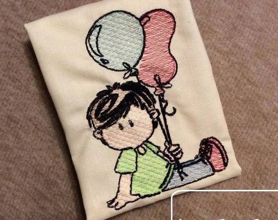 Deacon Boy with Balloons Birthday Sketch Embroidery Design - boy Sketch Embroidery Design - birthday Sketch Embroidery Design - balloons