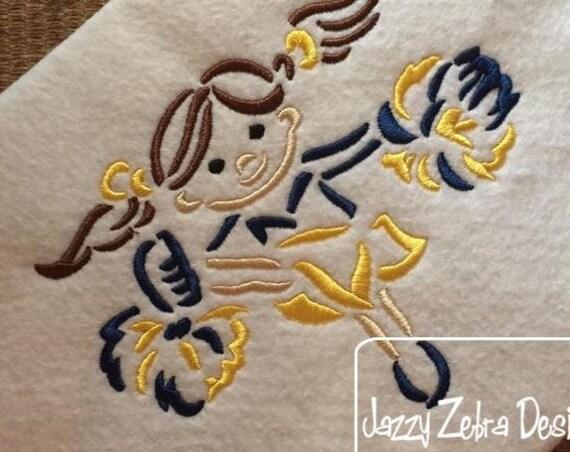 Cheerleader Satin Stitch Outline Embroidery Design - cheer embroidery design - girl embroidery design - cheerleader embroidery design