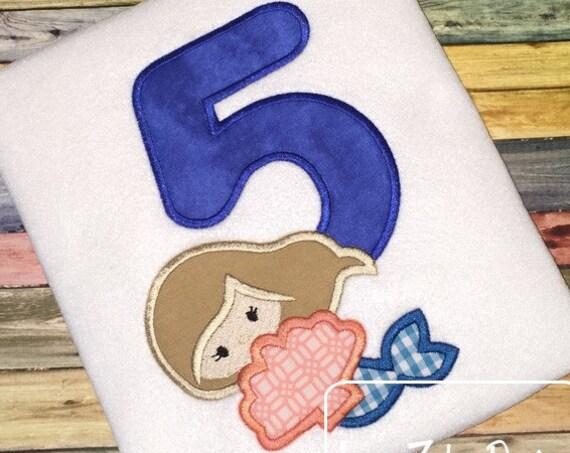 Mermaid Five Appliqué Embroidery Design - 5th birthday appliqué design - five year old - fifth birthday appliqué design - birthday appliqué