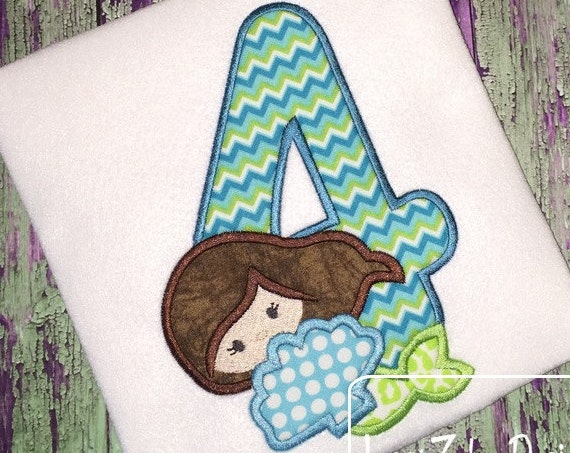 Mermaid Four Appliqué Embroidery Design - 4th birthday appliqué design - four year old - fourth birthday appliqué design - birthday appliqué