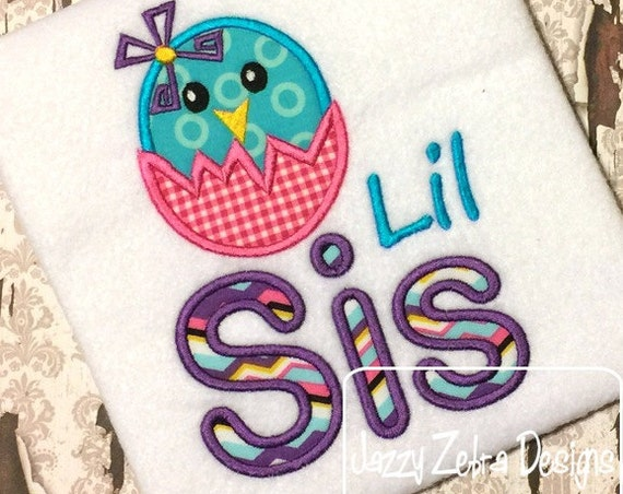 Lil Sis Birdy Applique embroidery Design - bird Appliqué Design - sister Appliqué Design - girl Appliqué Design