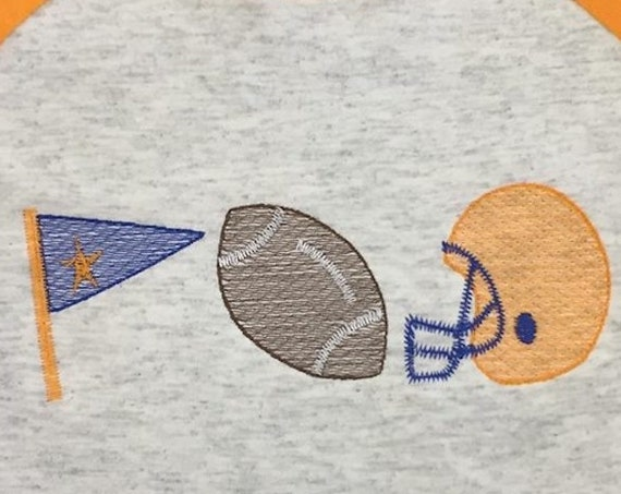 Football boy trio sketch embroidery design - football embroidery design - football helmet embroidery design - boy embroidery design - team
