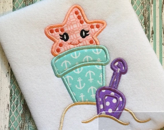 Beach Pail with Starfish Appliqué embroidery Design - beach Appliqué Design - star fish Appliqué Design - starfish Appliqué Design