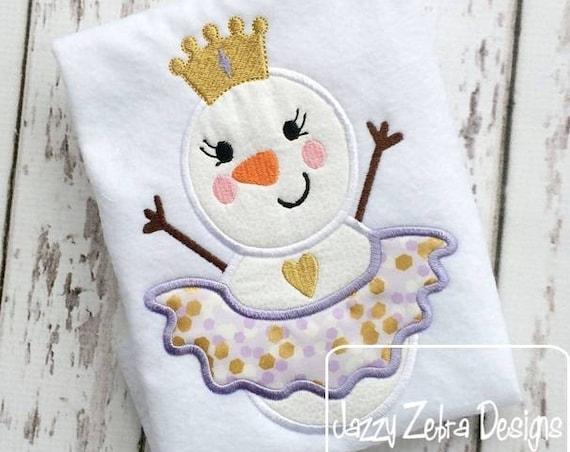 Snow Princess Snowman Appliqué embroidery Design - Snowman appliqué design - winter appliqué design - girl appliqué design - princess