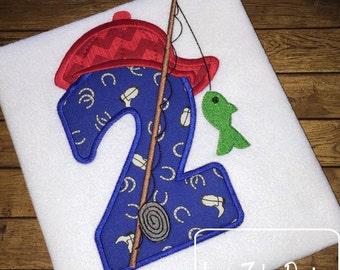 Fishing 2nd Birthday Appliqué Machine Embroidery Design