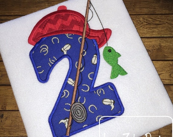 Fishing two Appliqué Embroidery Design - 2nd birthday appliqué design - two year old - second birthday appliqué design - birthday appliqué