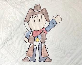 Cowboy sketch machine embroidery design