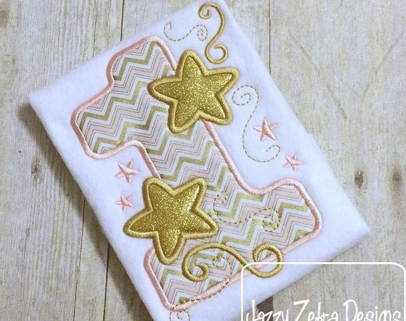 One Stars Appliqué embroidery Design - 1st birthday appliqué design - first birthday appliqué design - birthday appliqué - star appliqué
