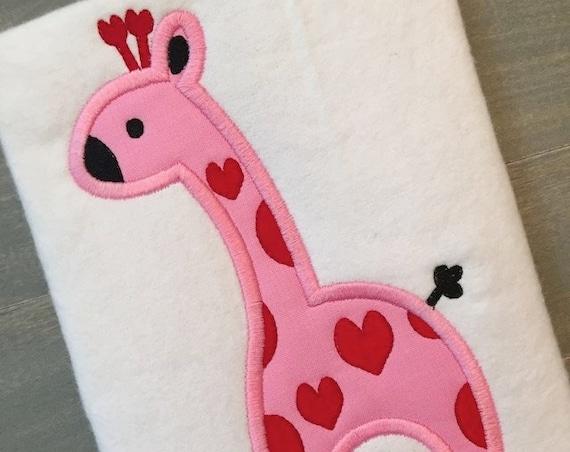 Valentine Giraffe Applique embroidery Design - Valentines Day appliqué design - Valentine appliqué design - giraffe applique design