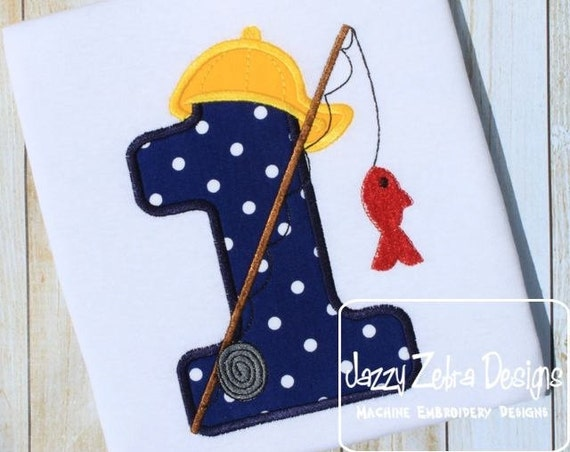 Fishing One Appliqué Embroidery Design - 1st Birthday appliqué design - first birthday appliqué design - birthday appliqué - fishing
