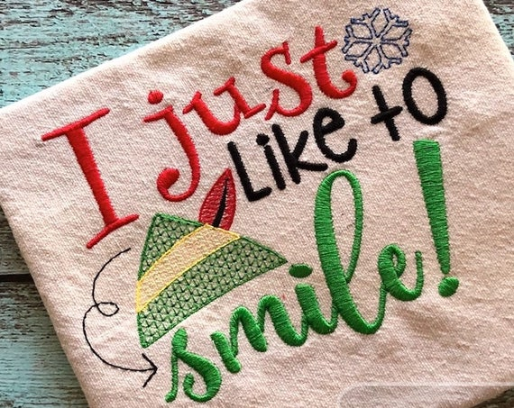 I just like to smile Saying embroidery design - Christmas embroidery design - elf embroidery design - girl embroidery design - boy design