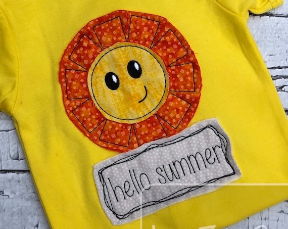 Hello Summer shabby chic appliqué embroidery design - sun appliqué design - sunshine appliqué design - summer appliqué design - shabby chic