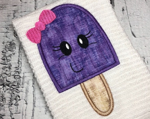 Popsicle girl appliqué embroidery design - popsicle appliqué design - girl appliqué design - ice cream appliqué design - summer appliqué