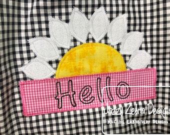 1873b2c3e Hello daisy vintage stitch Appliqué machine embroidery design - daisy  appliqué - instant download design