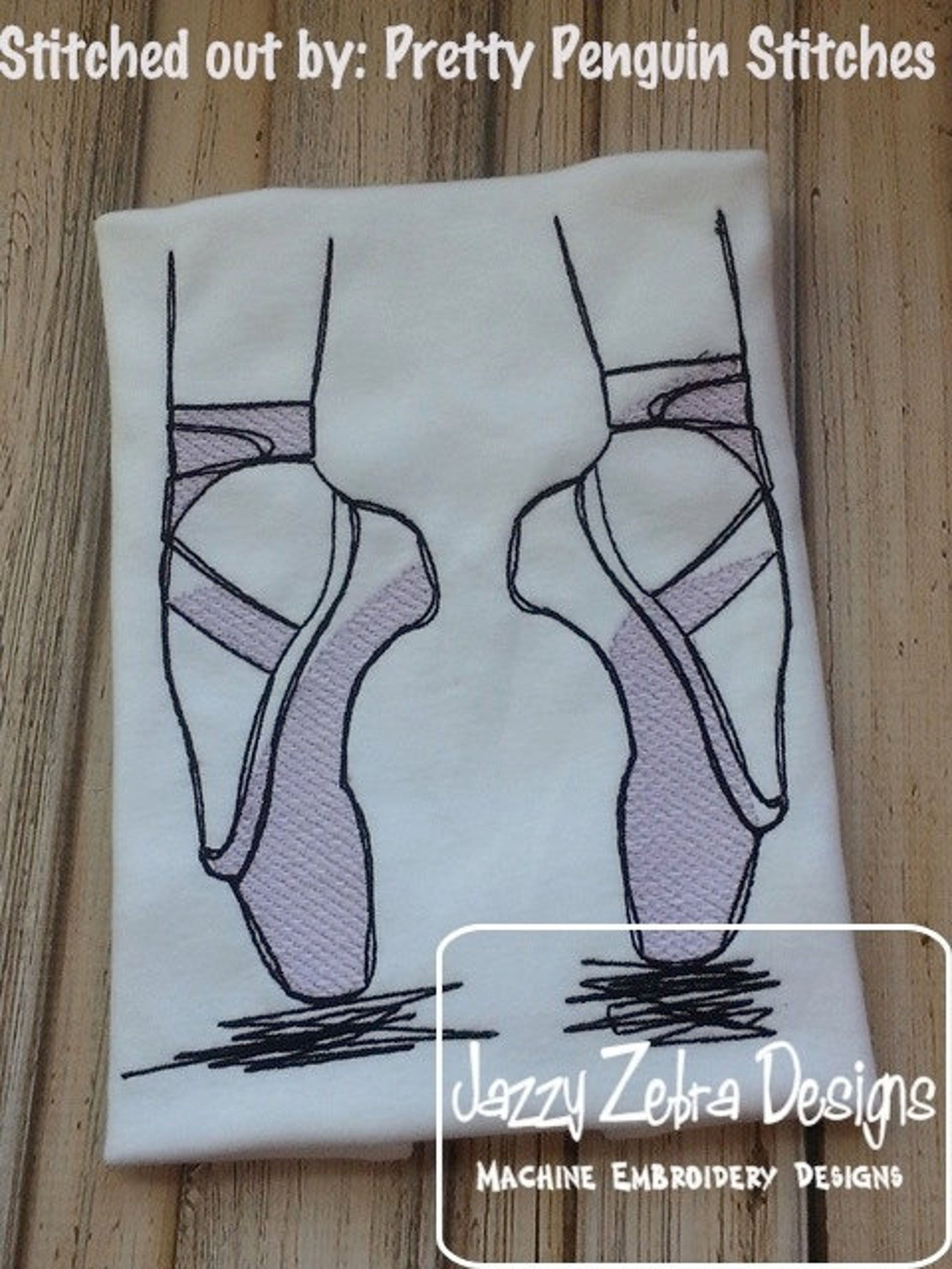ballet shoes sketch machine embroidery design - instant download design