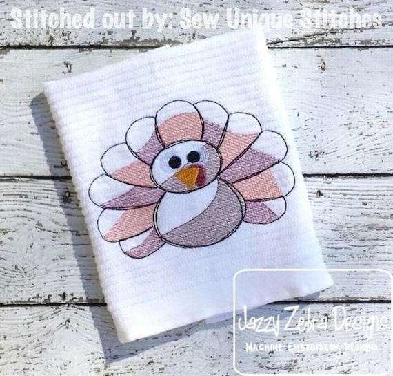 Turkey Sketch Embroidery Design - Thanksgiving Sketch Embroidery Design
