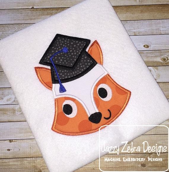 Graduation Fox Appliqué embroidery Design - Graduation Appliqué Design - school appliqué design - fox appliqué design - mascot appliqué