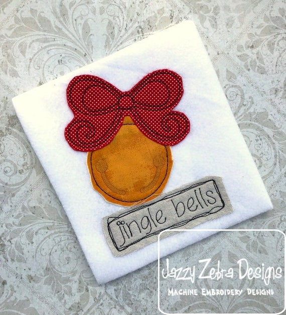 Jingle Bells shabby chic applique embroidery design - bells appliqué design - shabby chic appliqué design - Winter appliqué design-Christmas