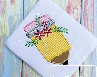 Pencil with flowers appliqué machine embroidery design