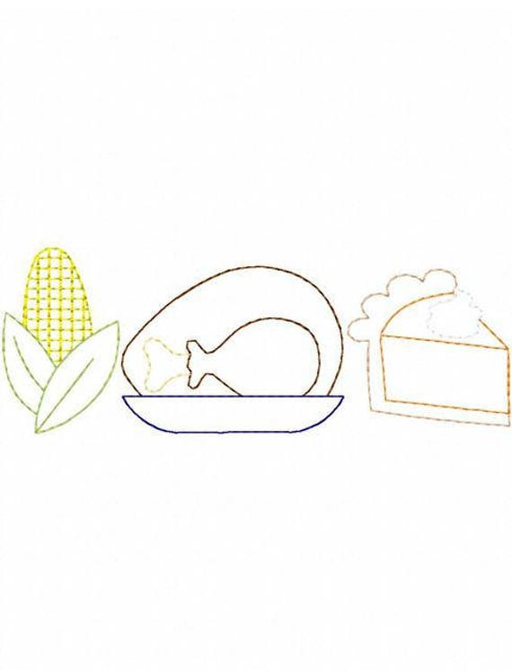 Thanksgiving Icon trio color work embroidery design - Thanksgiving embroidery design - turkey embroidery design - corn embroidery design