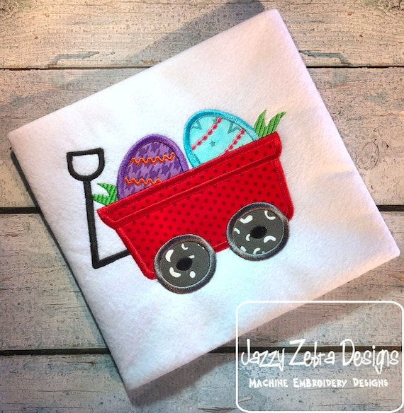 Wagon with easter eggs appliqué embroidery design - wagon appliqué design - easter appliqué design - easter eggs appliqué design - boy-girl